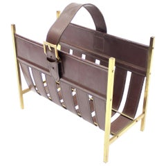 Jacques Adnet, Brass and Leather Magazine Rack, France, 1960s