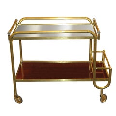 Jacques Adnet Brass and Rosewood Bar Cart, France, circa 1940s