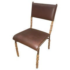 Jacques Adnet Brown Leather and Bambou Style Legs Chair, French, 1950