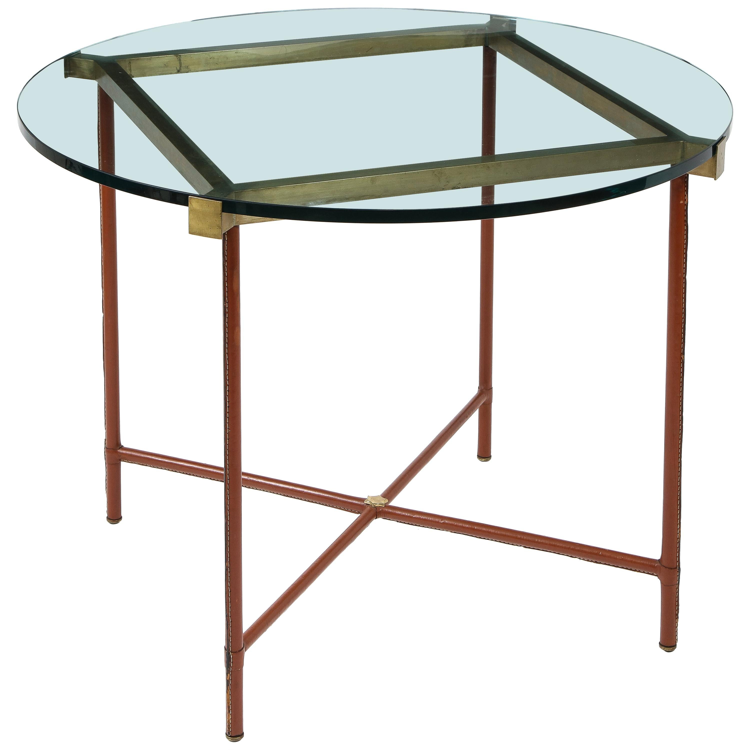 Jacques Adnet Center Table in Stitched Leather, Bronze and Gllass, France, 1950s