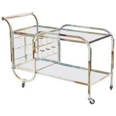 Jacques Adnet Chrome Bar Cart