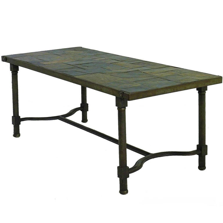Jacques Adnet Coffee Table Slate Stone Top French Midcentury FREE SHIPPING