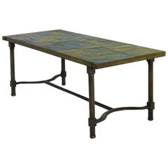 Jacques Adnet Coffee Table Iron and Slate Stone Top French Mid century