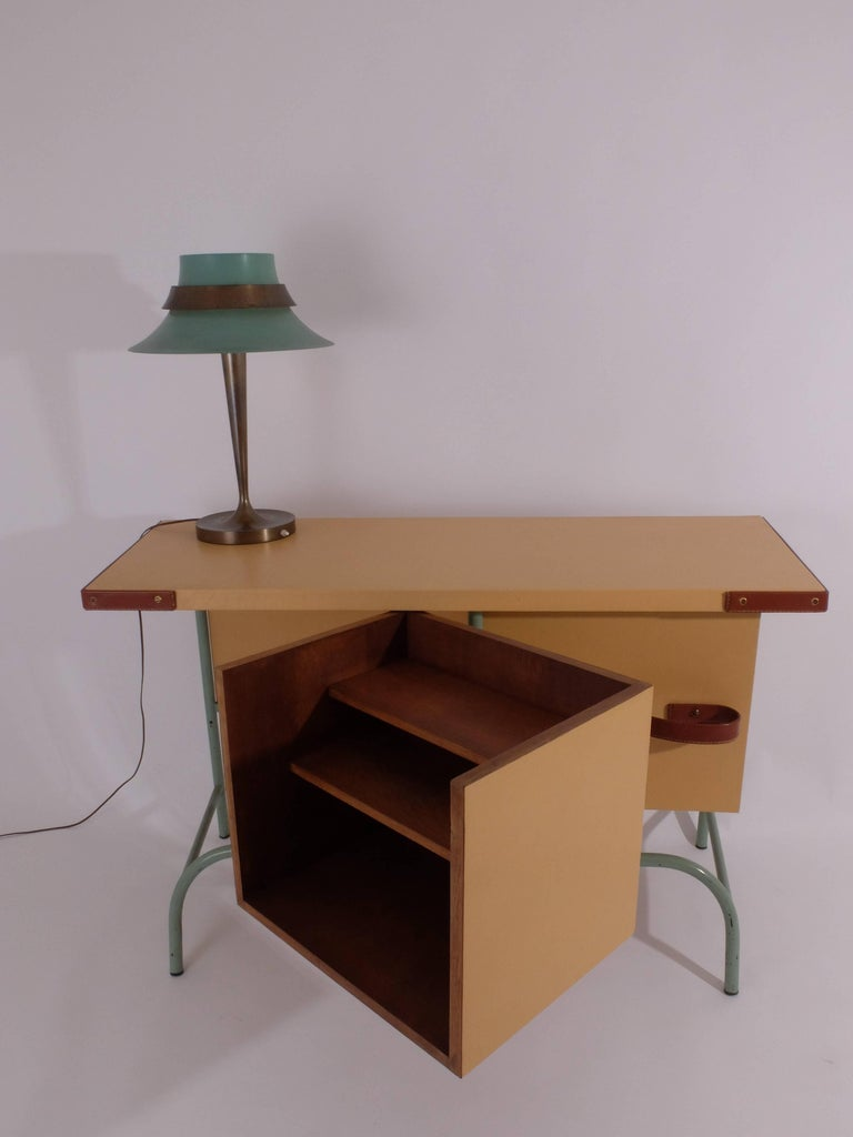 Mid-Century Modern Jacques Adnet Console or Buffet with Pivoting Drawers for Hermes For Sale