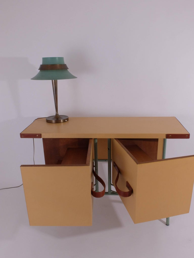 French Jacques Adnet Console or Buffet with Pivoting Drawers for Hermes For Sale
