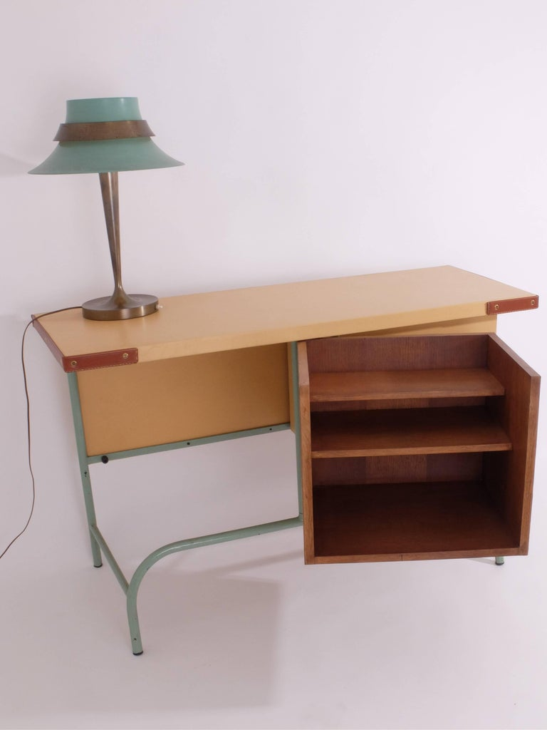 Needlepoint Jacques Adnet Console or Buffet with Pivoting Drawers for Hermes For Sale