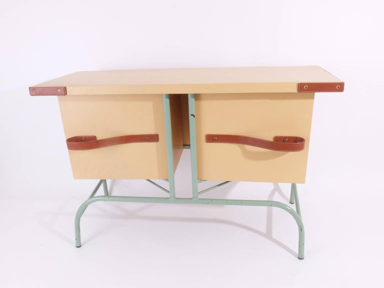 Mid-20th Century Jacques Adnet Console or Buffet with Pivoting Drawers for Hermes For Sale