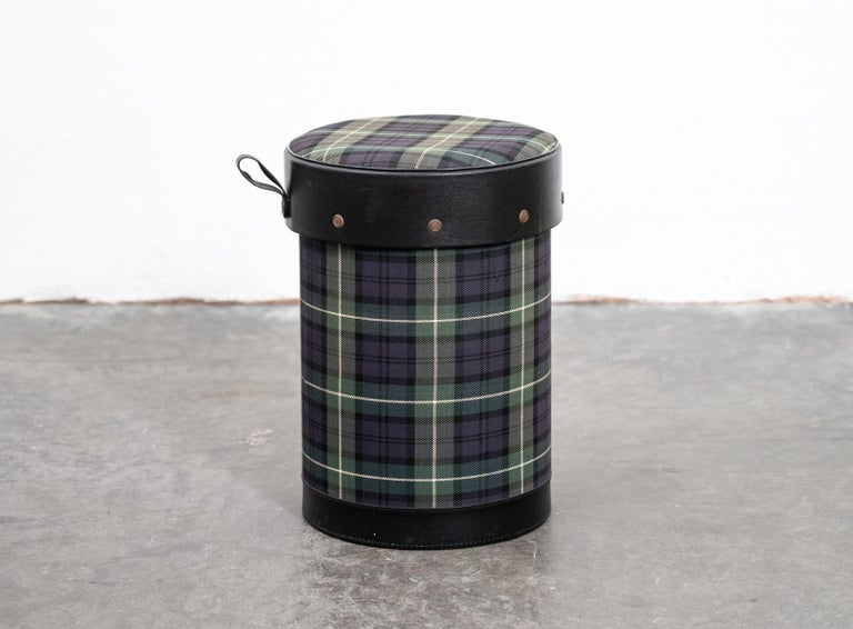 Mid century Jacques Adnet covered tartan wastepaper bin/stool, France, 1960s.