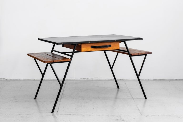 French Jacques Adnet Desk and Chair