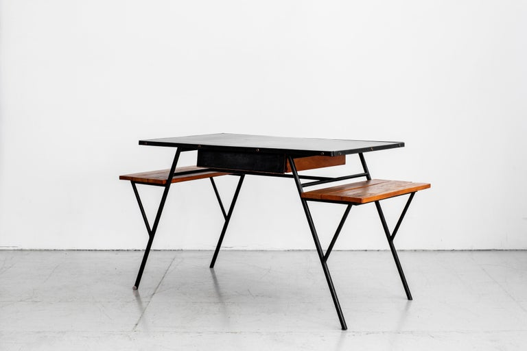 Mid-20th Century Jacques Adnet Desk and Chair