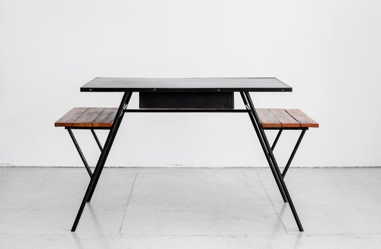 Metal Jacques Adnet Desk and Chair
