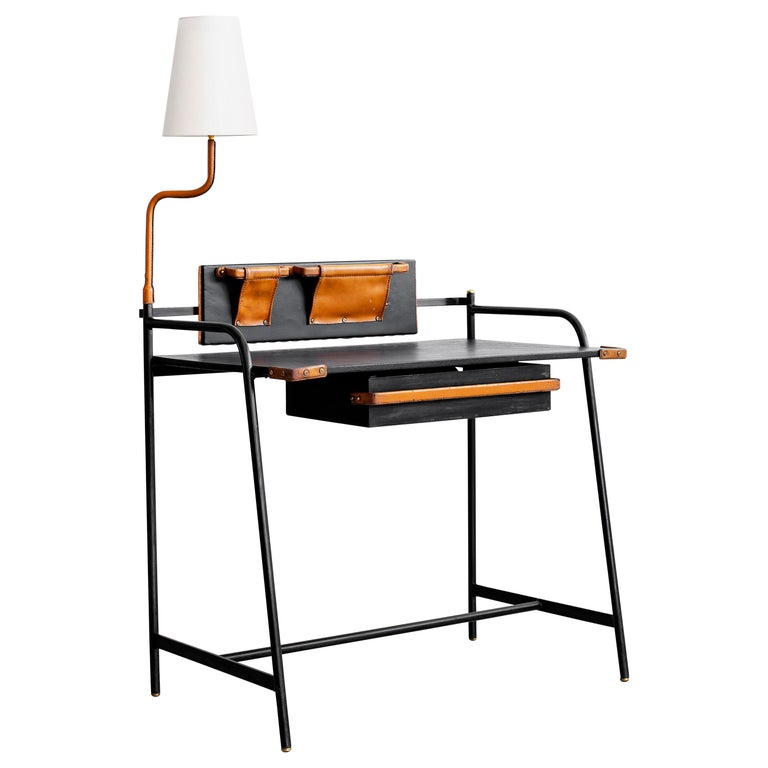 Jacques Adnet desk with lamp, 1940s, offered by Orange Furniture
