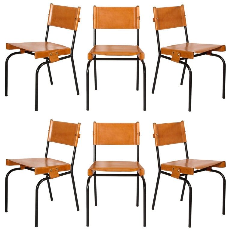 Jacques Adnet Dining Chairs For Sale
