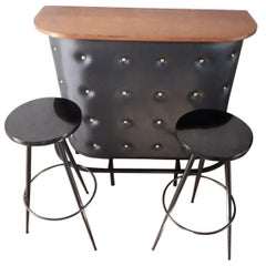 Jacques Adnet, Dry Bar with 2 Stools, France 1950, Mid-Century Modern