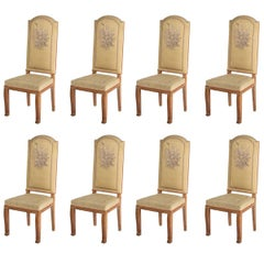 Jacques Adnet, Eight Fine and Rare Side Chairs, France, C. 1938-1940