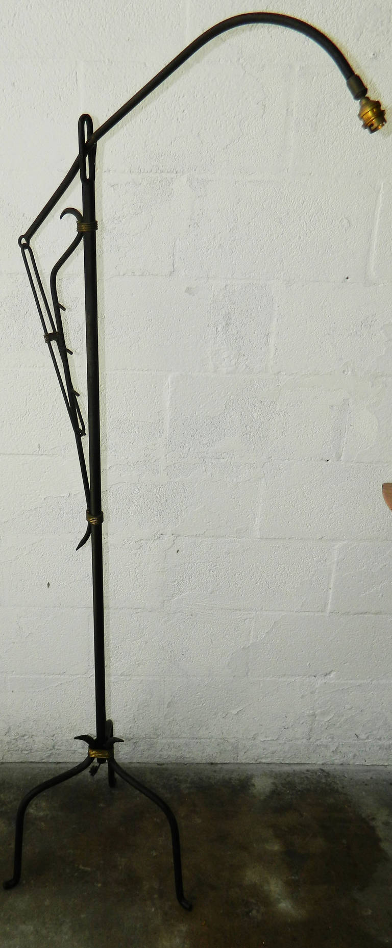 1950s Jacques Adnet floor lamp. 100W US wired and in working condition.