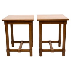 Jacques Adnet, France, a Pair of High End Tables, Light Oak, circa 1960