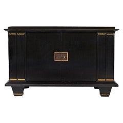 Jacques Adnet French Art Deco Ebonised Enfilade Sideboard with Gilt Bronze Mount