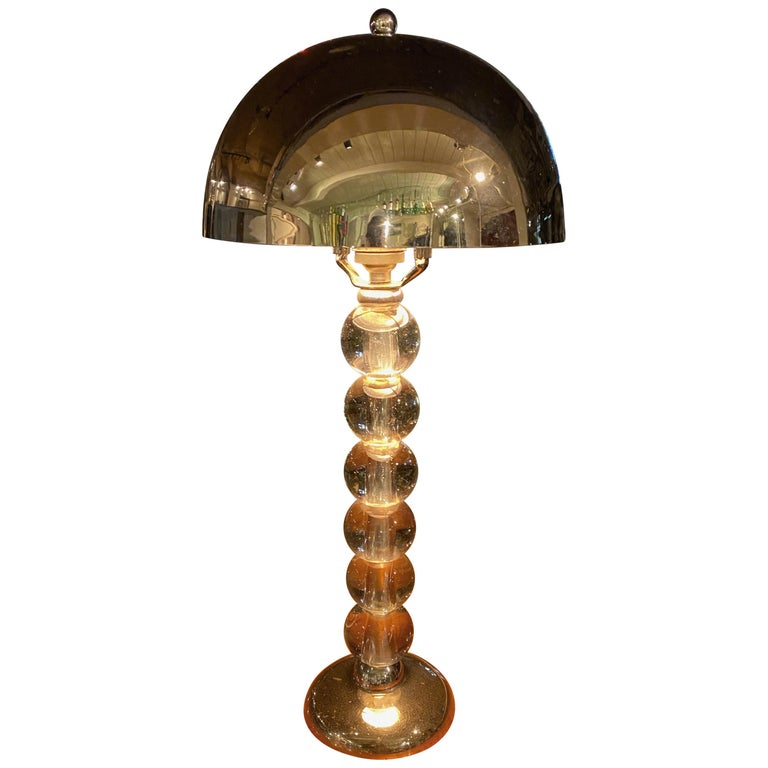 Jacques Adnet French Art Deco Machine Age Art Deco Lamp For Sale