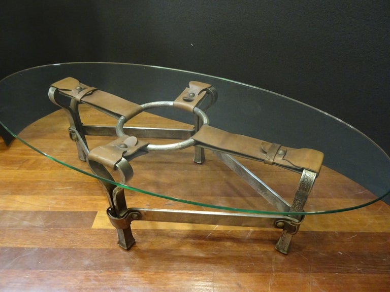 Jacques Adnet French Coffee Table for Hermès, Leather, Steel, Crystal, 1950 6