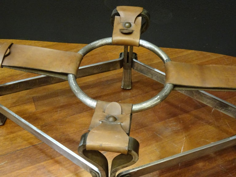 Jacques Adnet French Coffee Table for Hermès, Leather, Steel, Crystal, 1950 7