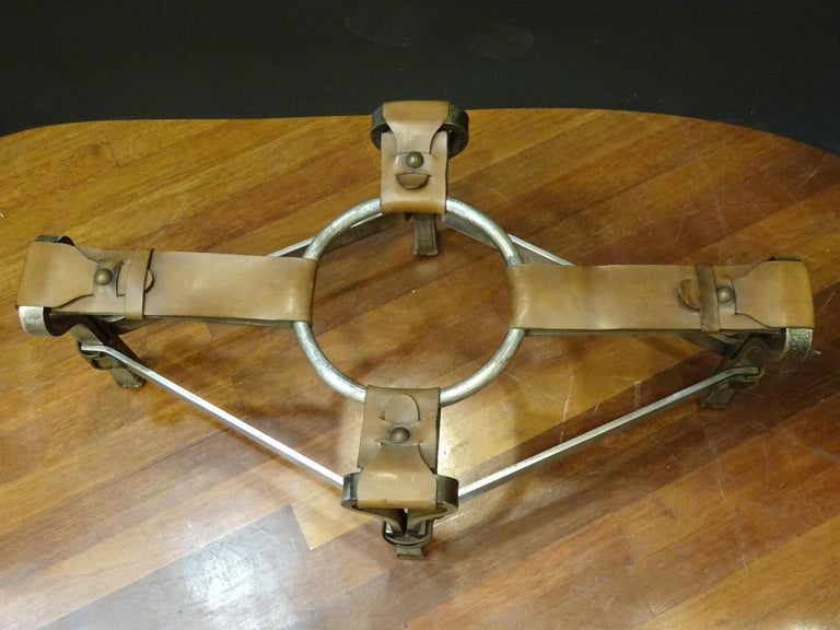 Jacques Adnet French Coffee Table for Hermès, Leather, Steel, Crystal, 1950 9