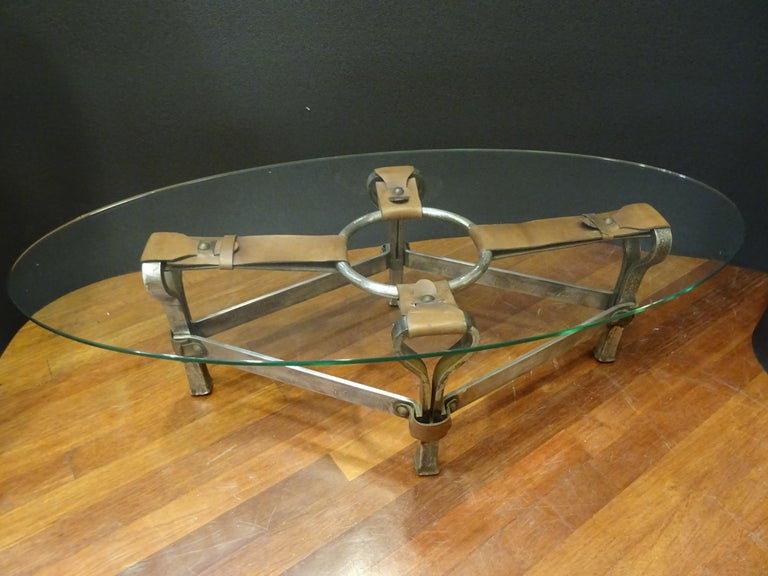 Jacques Adnet French Coffee Table for Hermès, Leather, Steel, Crystal, 1950 12