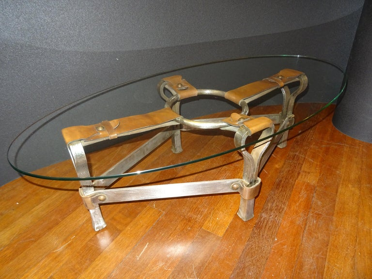 One of a kind piece, unique, leather, steel and crystal coffee table designed by Jacques Adnet (1900-1984), who was a French Art Deco modernist designer, architect and interior designer. He was known for his furniture designs in leather. He works