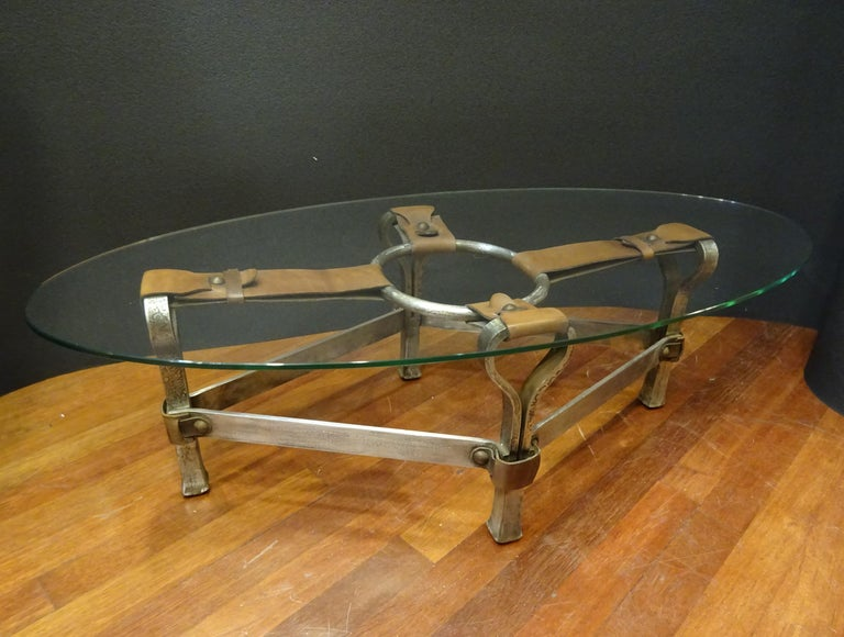 Jacques Adnet French Coffee Table for Hermès, Leather, Steel, Crystal, 1950 14