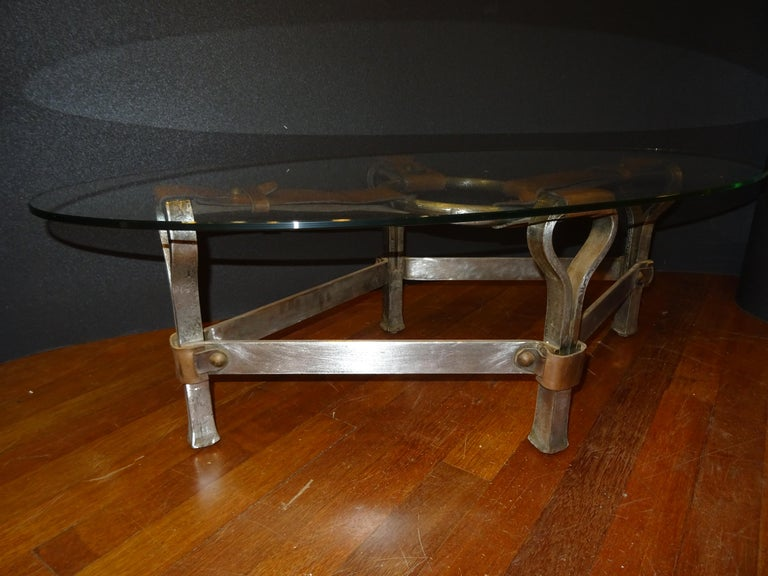 Bauhaus Jacques Adnet French Coffee Table for Hermès, Leather, Steel, Crystal, 1950
