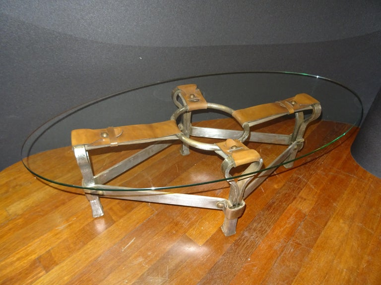 Hand-Crafted Jacques Adnet French Coffee Table for Hermès, Leather, Steel, Crystal, 1950
