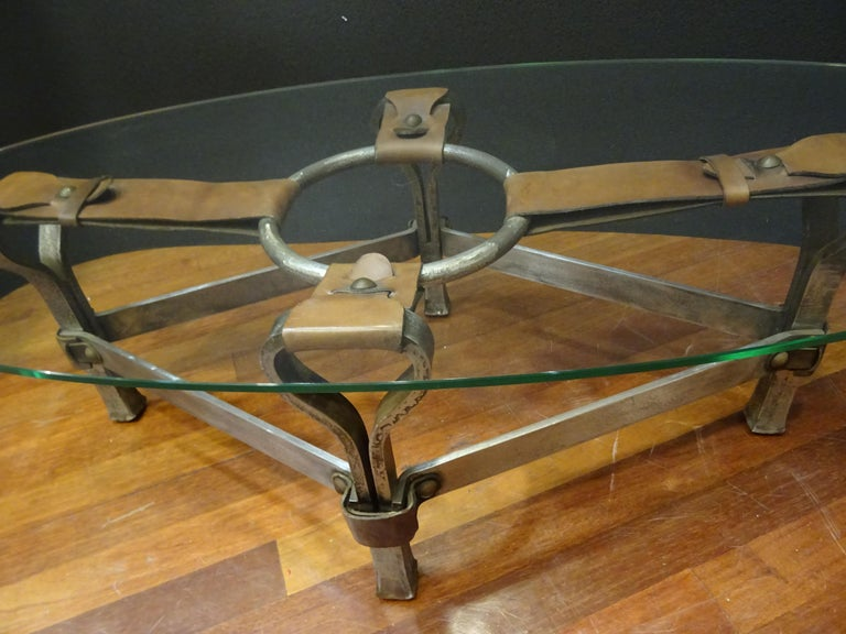 Jacques Adnet French Coffee Table for Hermès, Leather, Steel, Crystal, 1950 1