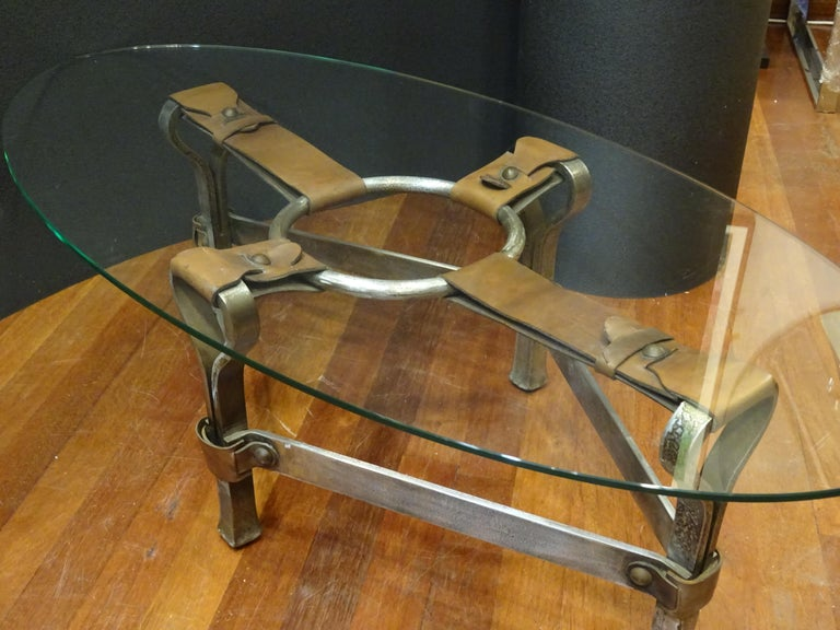 Jacques Adnet French Coffee Table for Hermès, Leather, Steel, Crystal, 1950 3