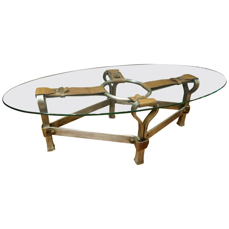Jacques Adnet French Coffee Table for Hermès, Leather, Steel, Crystal, 1950