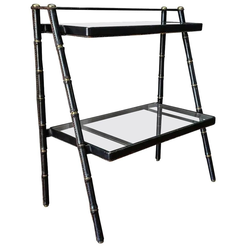Jacques Adnet  Leather Wrapped Bronze Bookshelf
