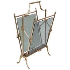 Jacques Adnet French Neoclassical Brass and Smoked Glass Magazine Rack