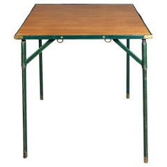Jacques Adnet Green Leather and Wood Game Table