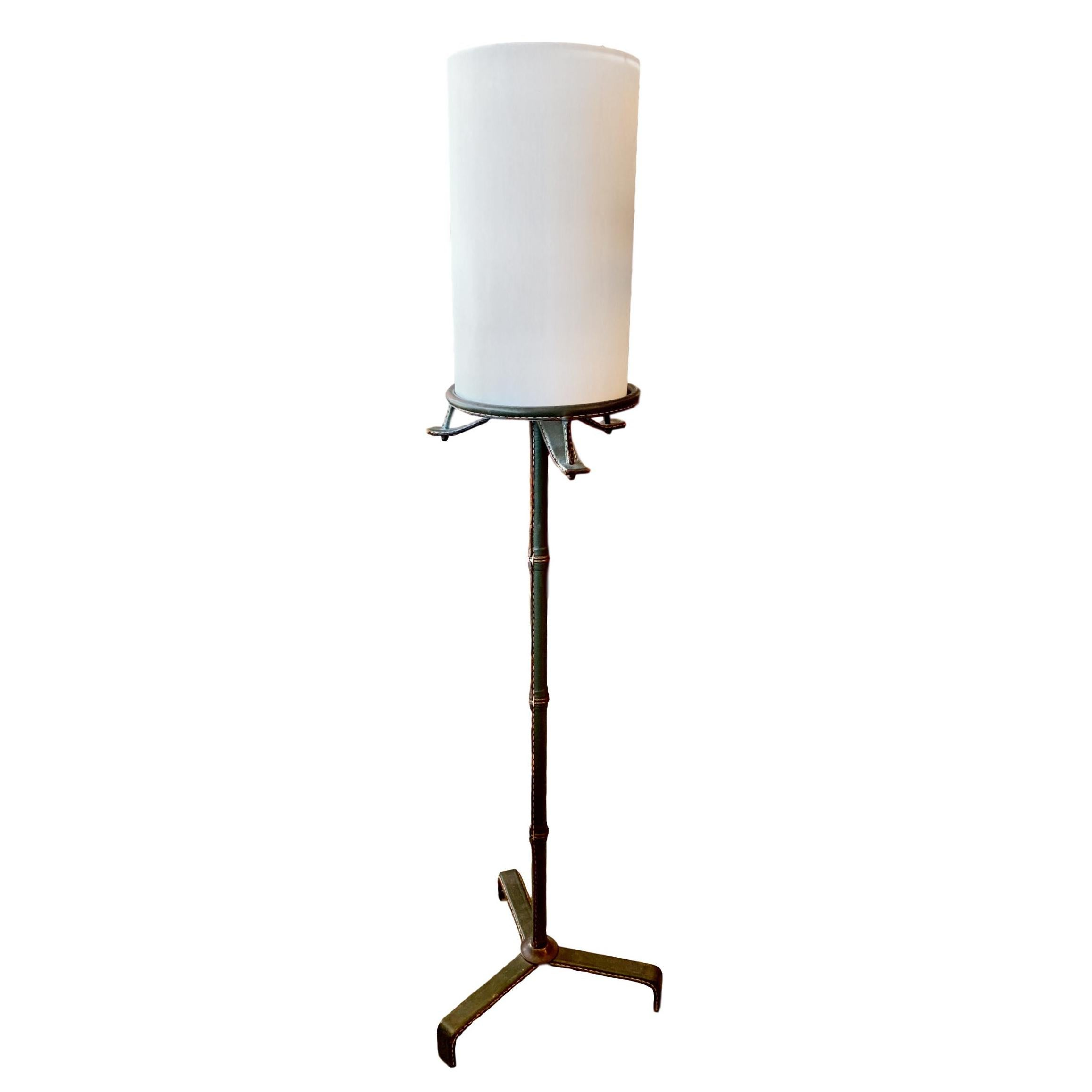 Jacques Adnet Green Leather Floor Lamp