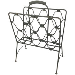 Jacques Adnet Green Leather Iron Magazines Rack, 1940s