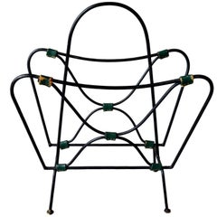 Jacques Adnet Iron and Leather Magazine Rack