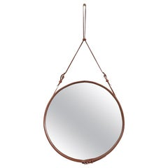 Jacques Adnet Large Circulaire Mirror with Brown Leather