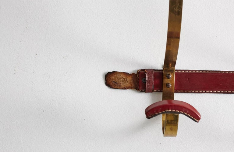 Jacques Adnet Leather and Brass Coat Rack For Sale 4