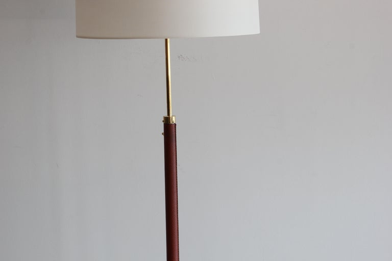 Jacques Adnet Leather and Brass Floor Lamp For Sale 2