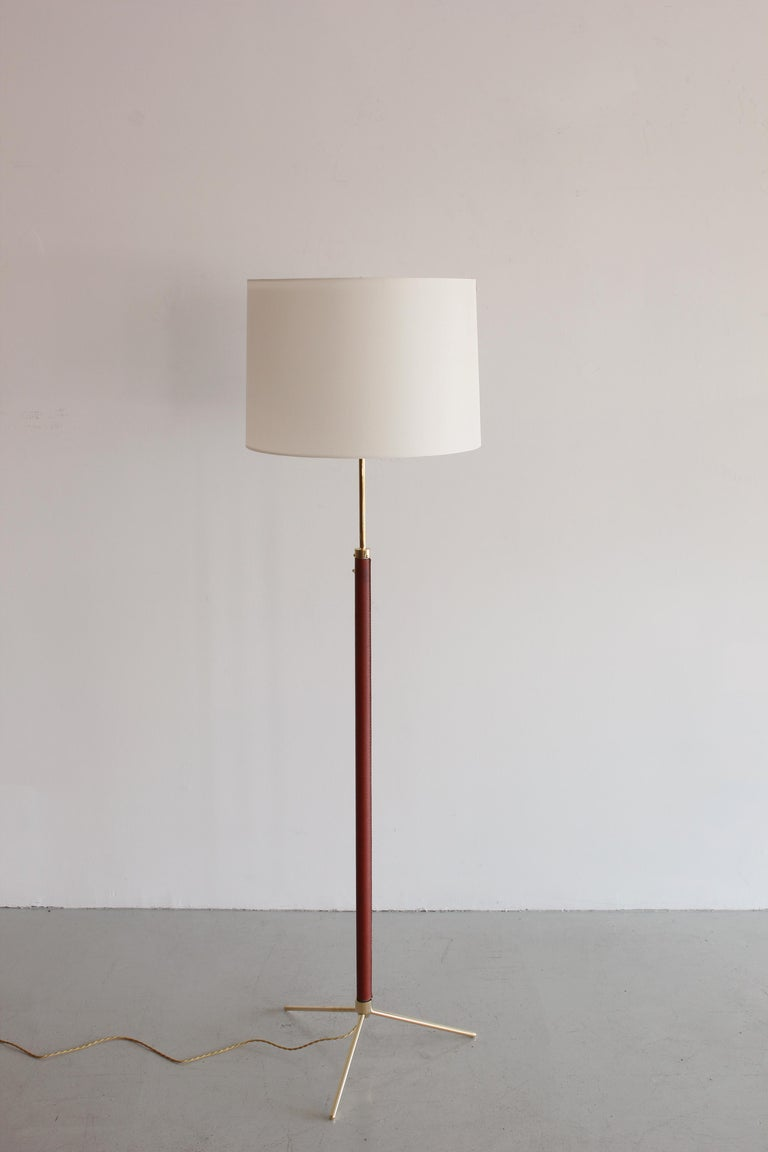 French Jacques Adnet Leather and Brass Floor Lamp For Sale