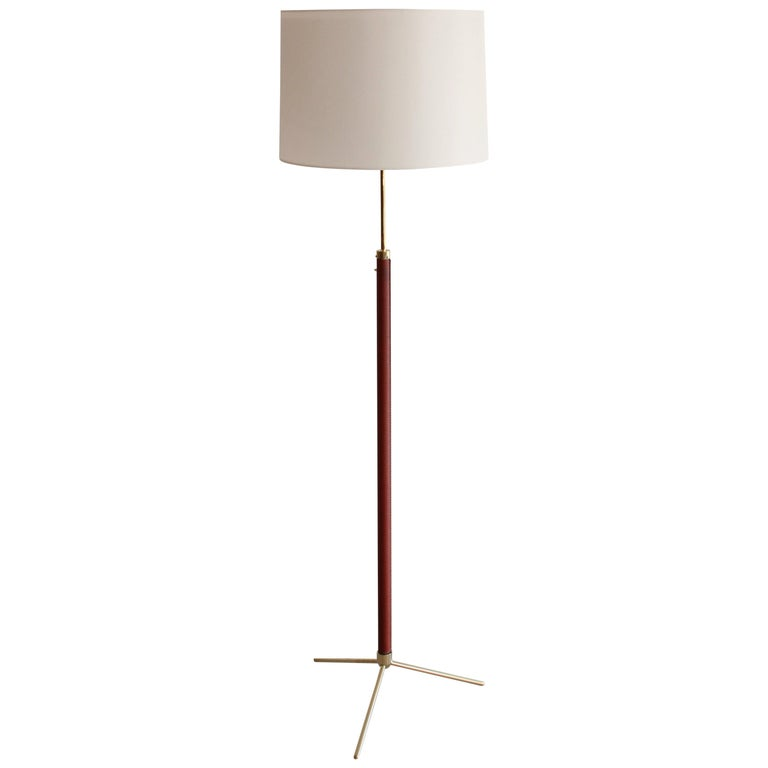 Jacques Adnet Leather and Brass Floor Lamp For Sale