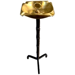 Jacques Adnet Leather and Brass Standing Ashtray