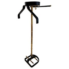 Jacques Adnet Leather and Brass Valet