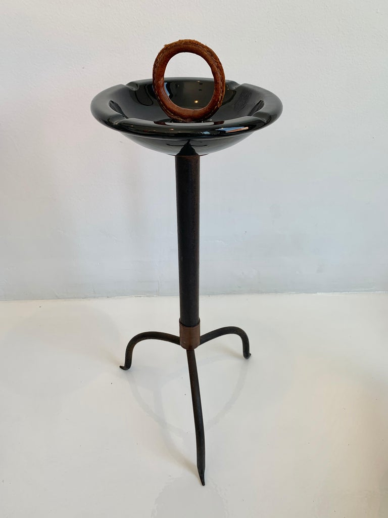Jacques Adnet Leather and Ceramic Catchall / Ashtray 1