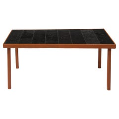 Jacques Adnet Leather and Dark Jouve-like Lava Stone Tile Table, France 1950's