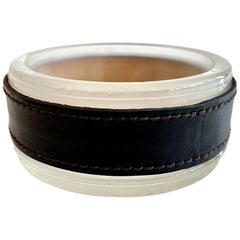 Jacques Adnet Leather and Glass Ashtray